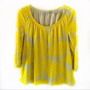Liz Claiborne 3/4 Sleeve Yellow/Grey Relaxed Top L